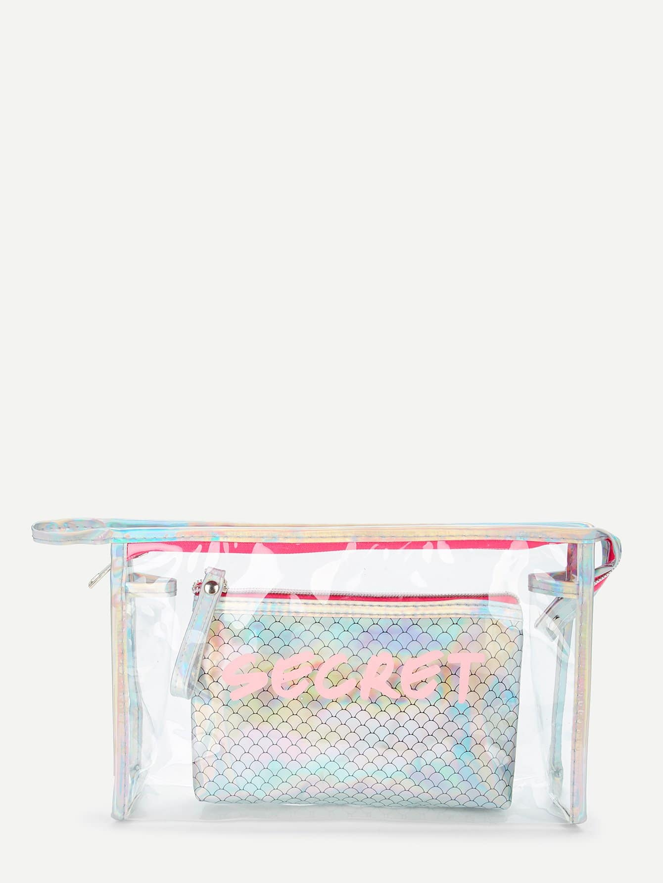 Scale Print Makeup Bag 2pcs fashion women travel kit jewelry organizer makeup cosmetic bag