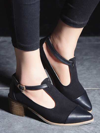 Romwe / Buckle Detail T Strap Heels
