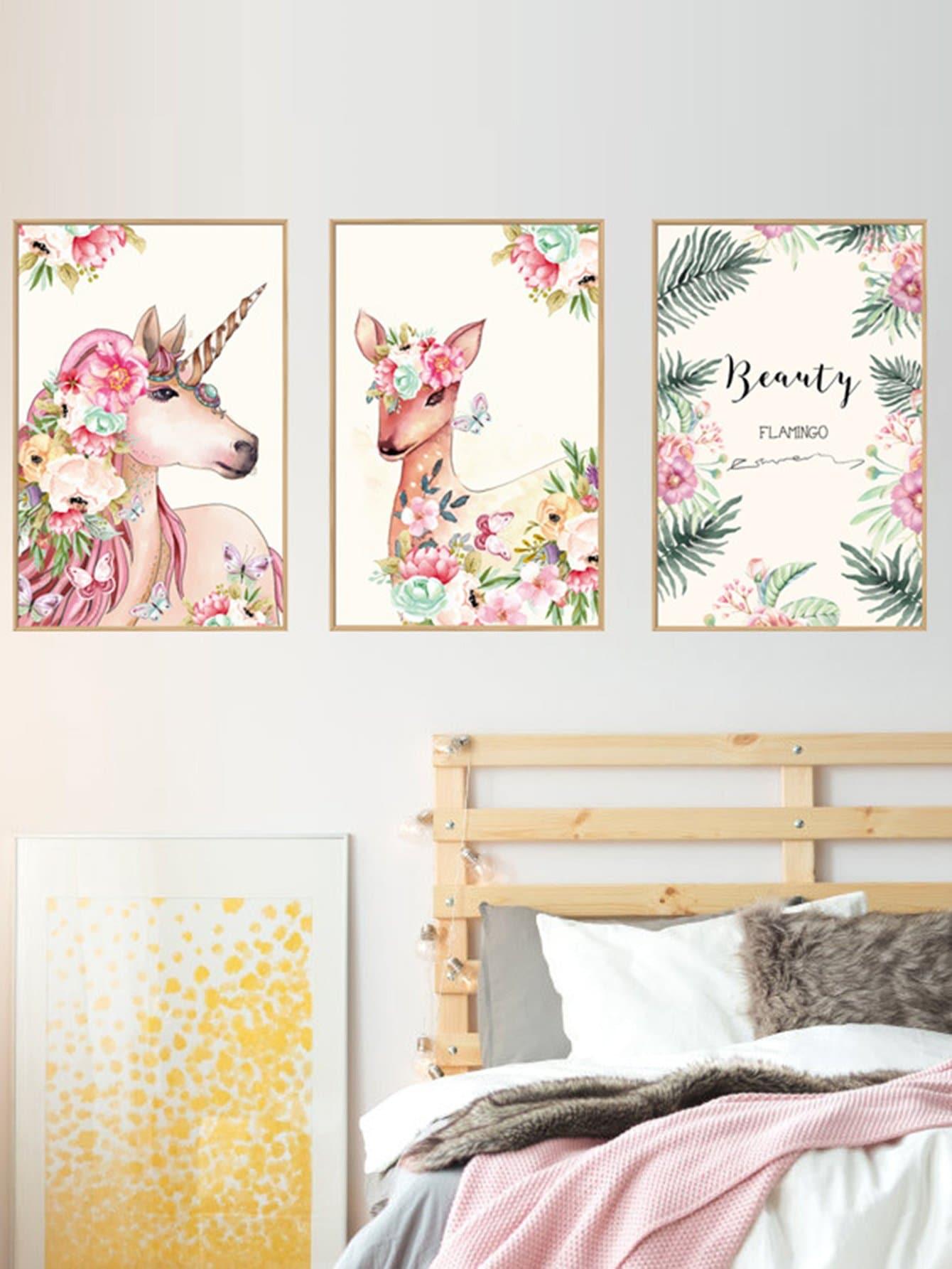 Купить Настенная наклейка с рисунками оленей и цветов 3 шт, null, SheIn