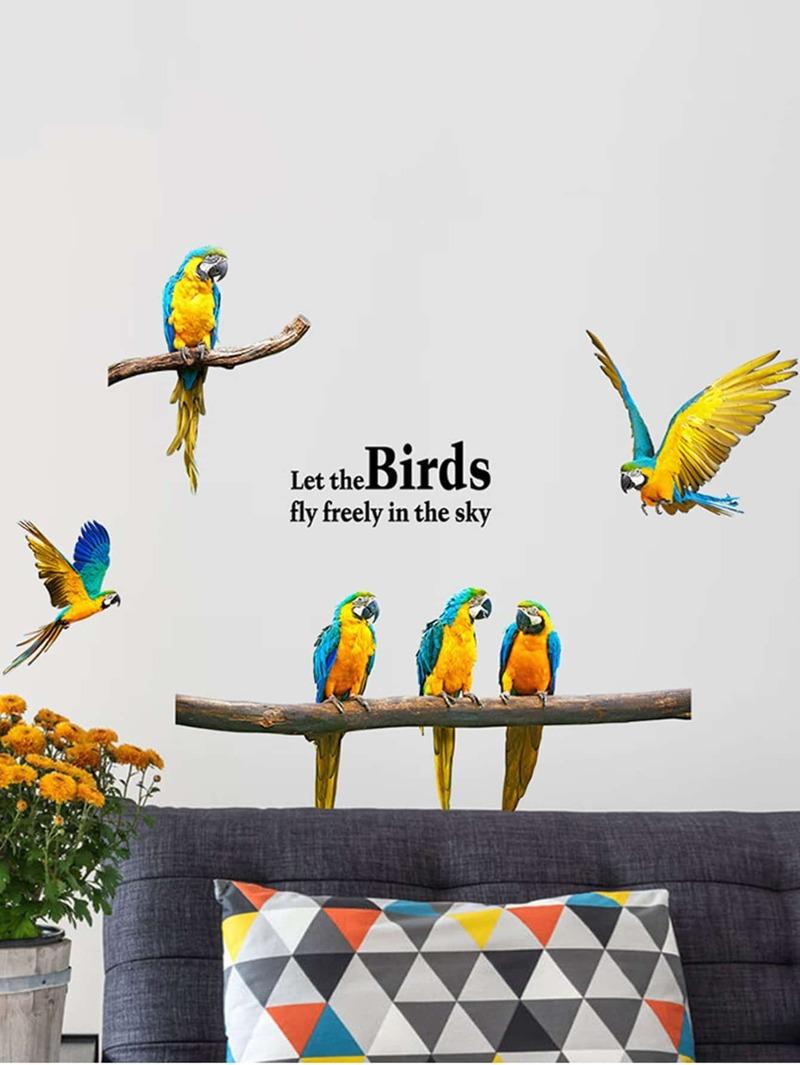 Slogan & Birds Decor Wall Sticker