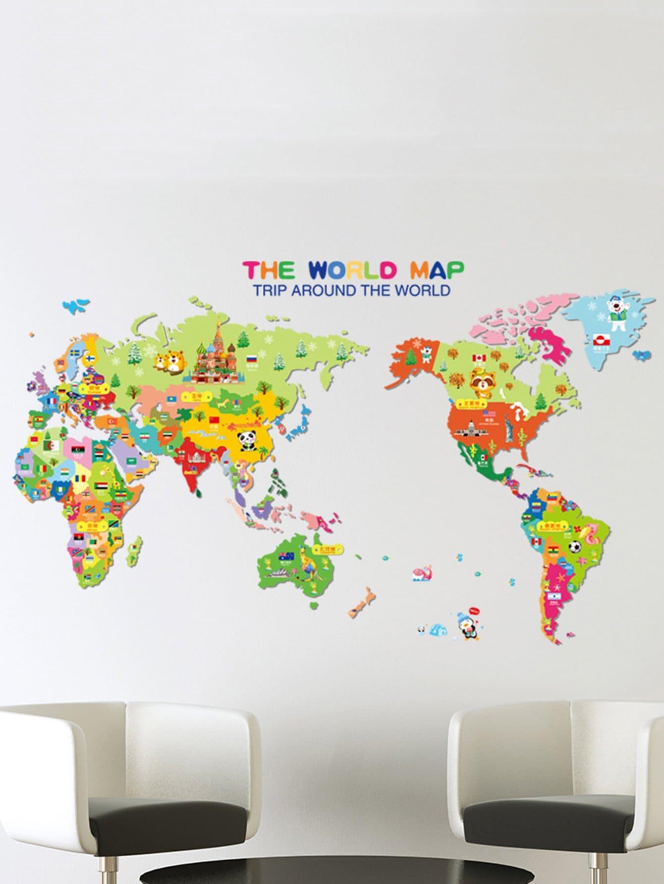 Купить Настенная наклейка с рисунком мировой картиной 3 шт, null, SheIn