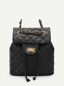 Quilted Flap PU Backpack