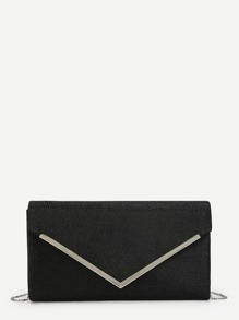 Metal Detail Flap Clutch Bag