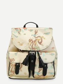 Dragon Pattern Backpack With Tassel