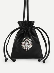Rhinestone Detail Drawstring PU Bag