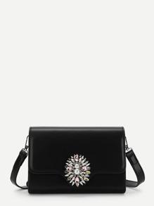 Rhinestone Detail Flap Crossbody Bag