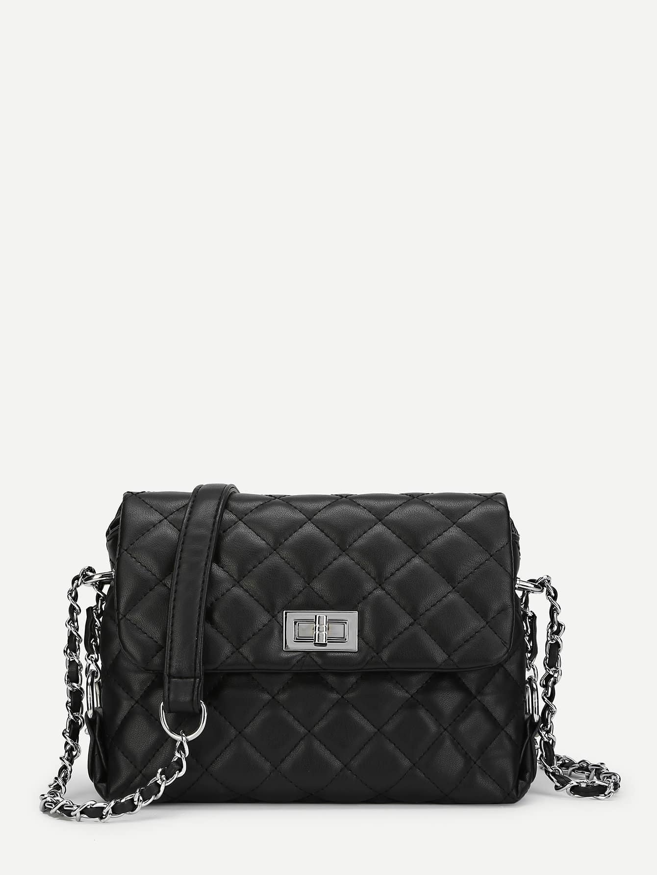 Twist Lock Quilted Chain Crossbody Bag quilted metallic chain bag