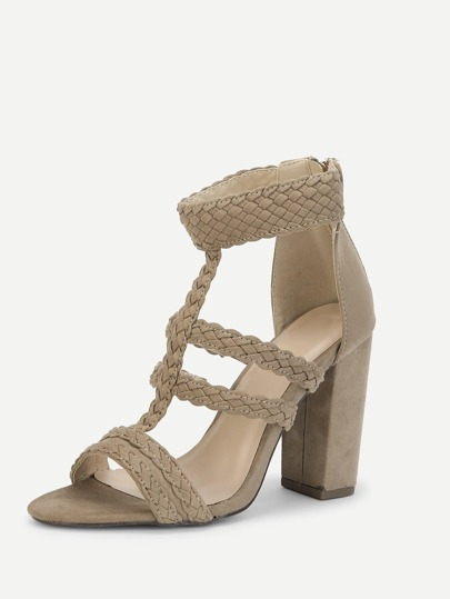 Romwe / Plaited Detail Heeled Sandals
