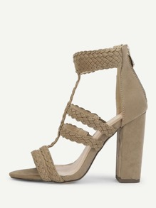 Plaited Detail Heeled Sandals