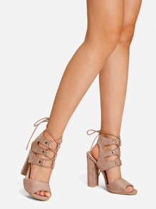 Open Toe Lace Up Heeled Sandals