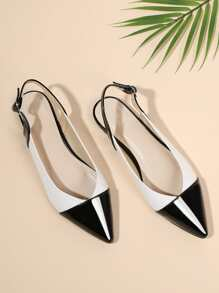 Two Tone Pointed Toe Flats
