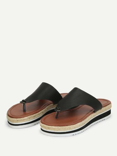 Romwe / Toe Post PU Wedge Sandals