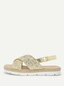 Glitter Cross Cross Design Sandals