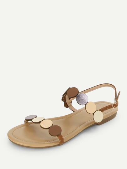 Romwe / Round Design Open Toe Flat Sandals