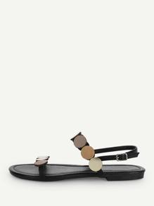 Round Design Open Toe Flat Sandals