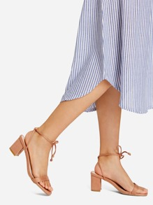 Bow Front Strappy Heeled Sandals