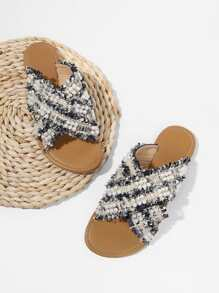 Criss Cross Flat Slippers With Faux Pearl