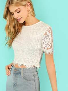 Flower Embroidery Eyelash Lace Crop Top