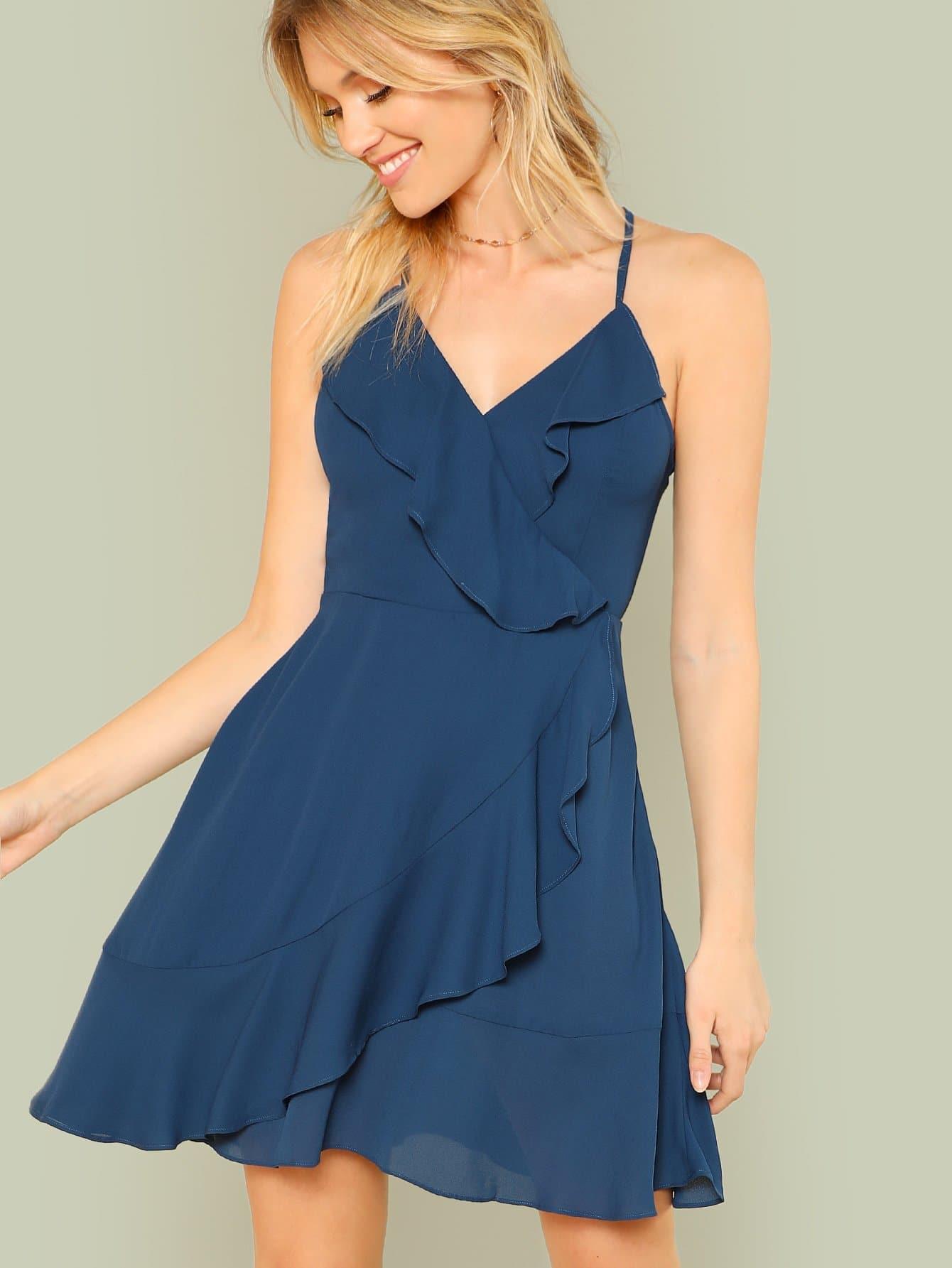 Купить Платье с запахом и оборками, Noelle Brown, SheIn