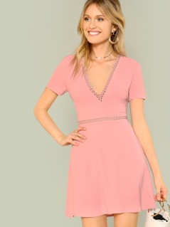 Solid Fit & Flare Dress