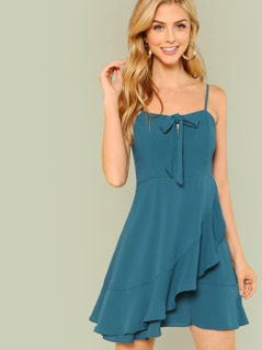Bow Tied Front Ruffle Trim Dress
