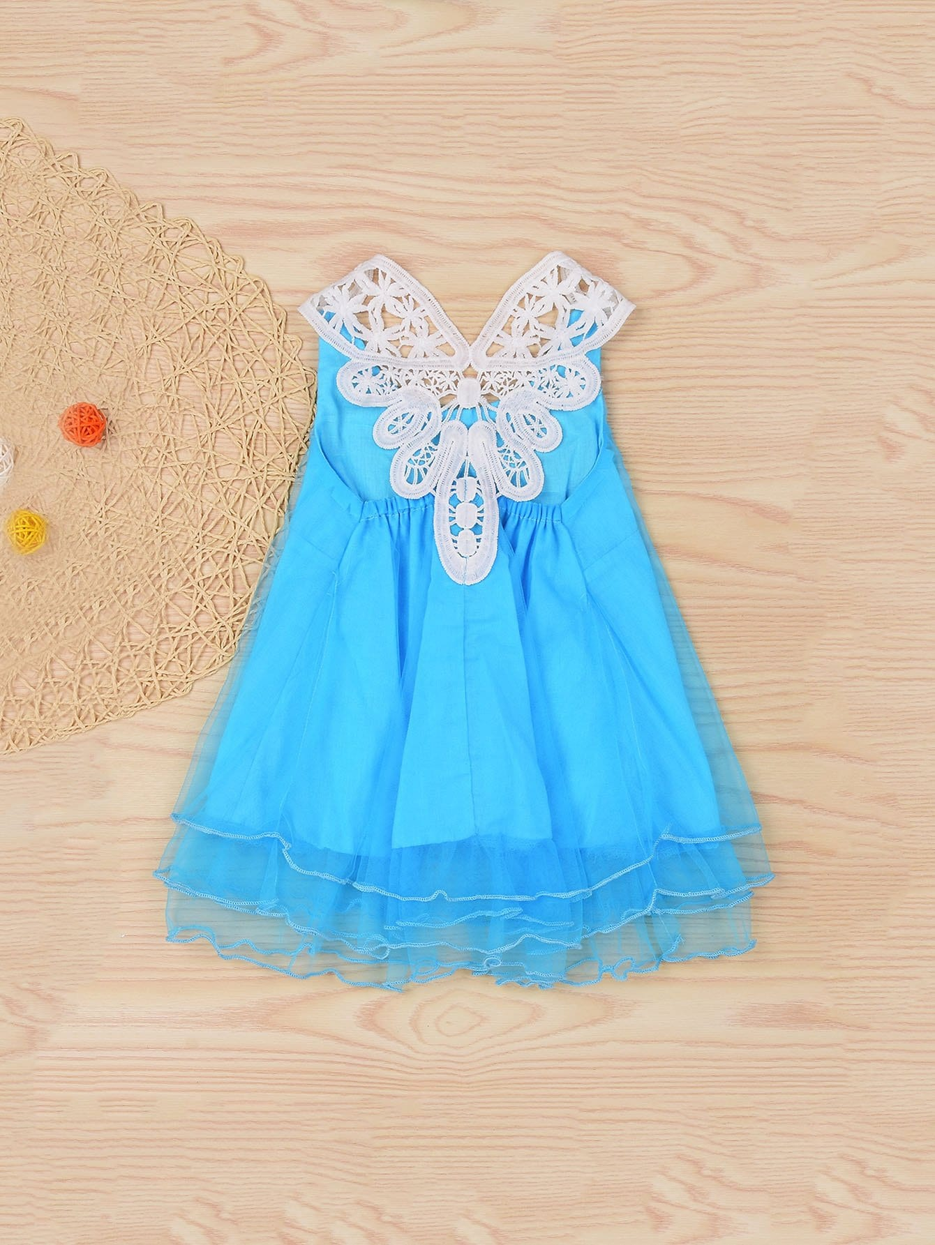 Girls Contrast Lace Pearl Beaded Dress