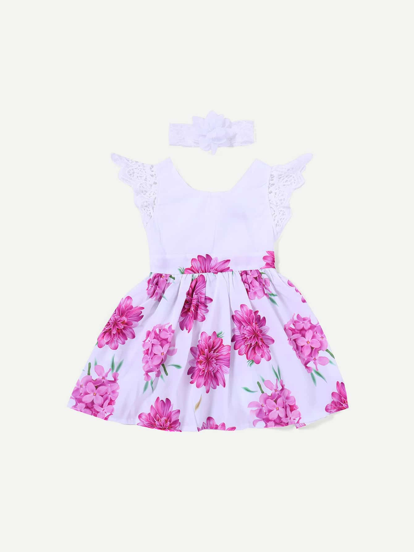 Girls Contrast Lace Sleeve Floral Print Dress With Headband
