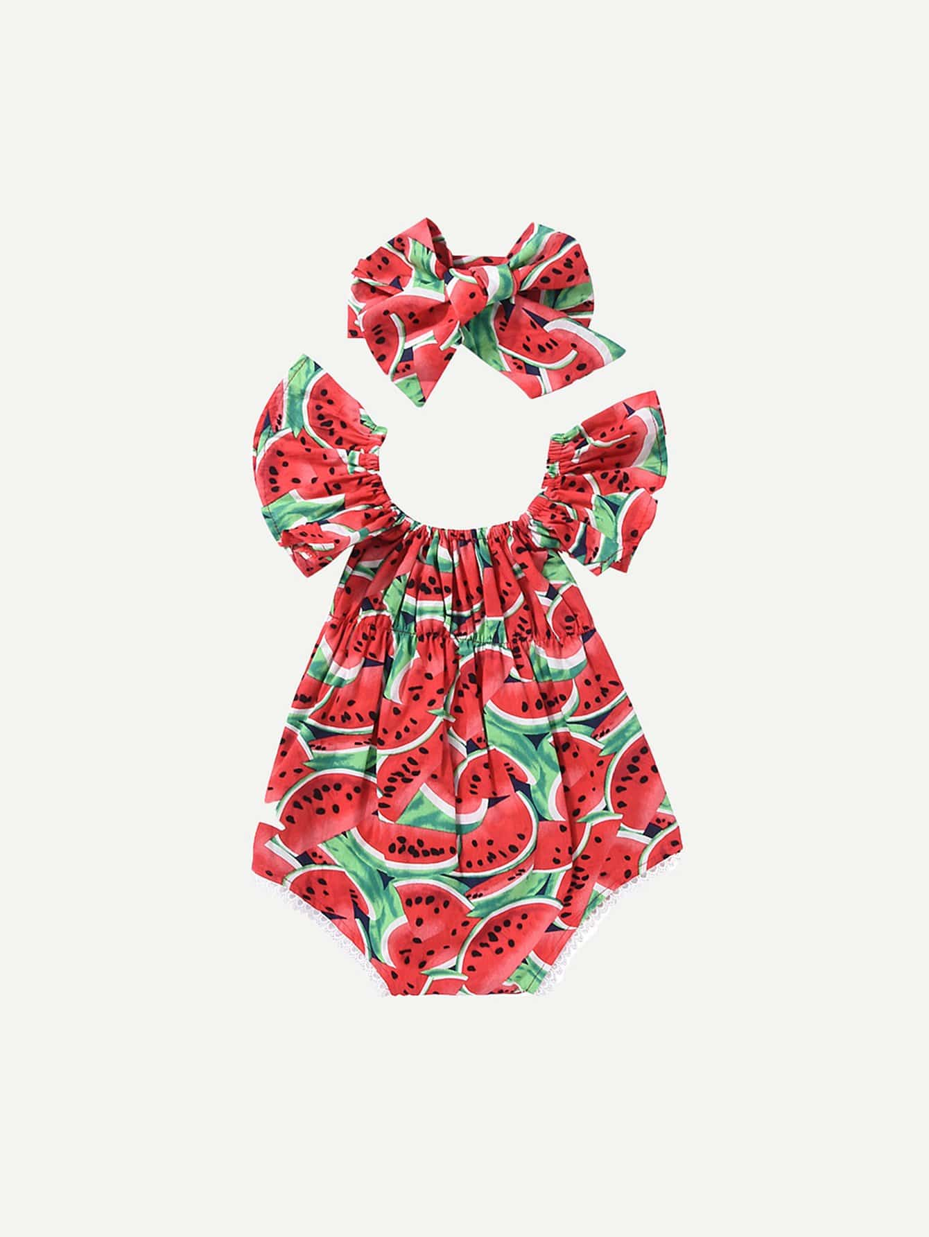 Toddler Girls Watermelon Print Romper With Headband null