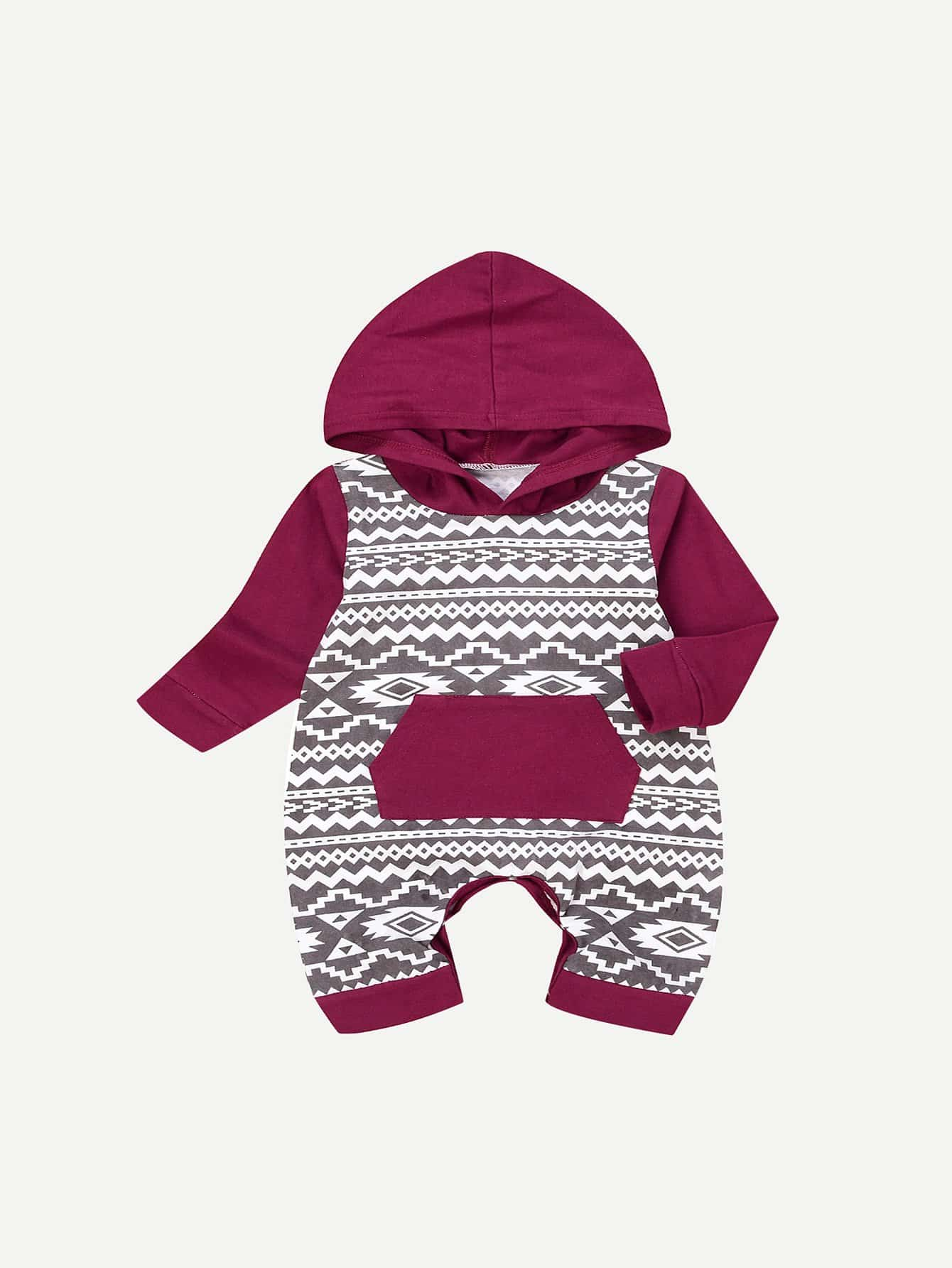 Girls Geometric Print Hooded Jumpsuit newborn baby rompers clothes cotton ears hooded suits infant jumpsuit outwear animal lion baby boys girls jumpsuit clothing