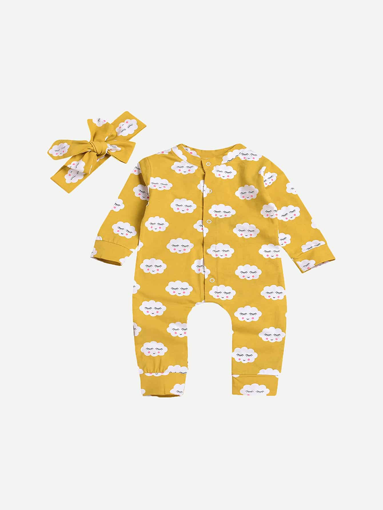 Toddler Girls Cloud Print Jumpsuit With Headband null