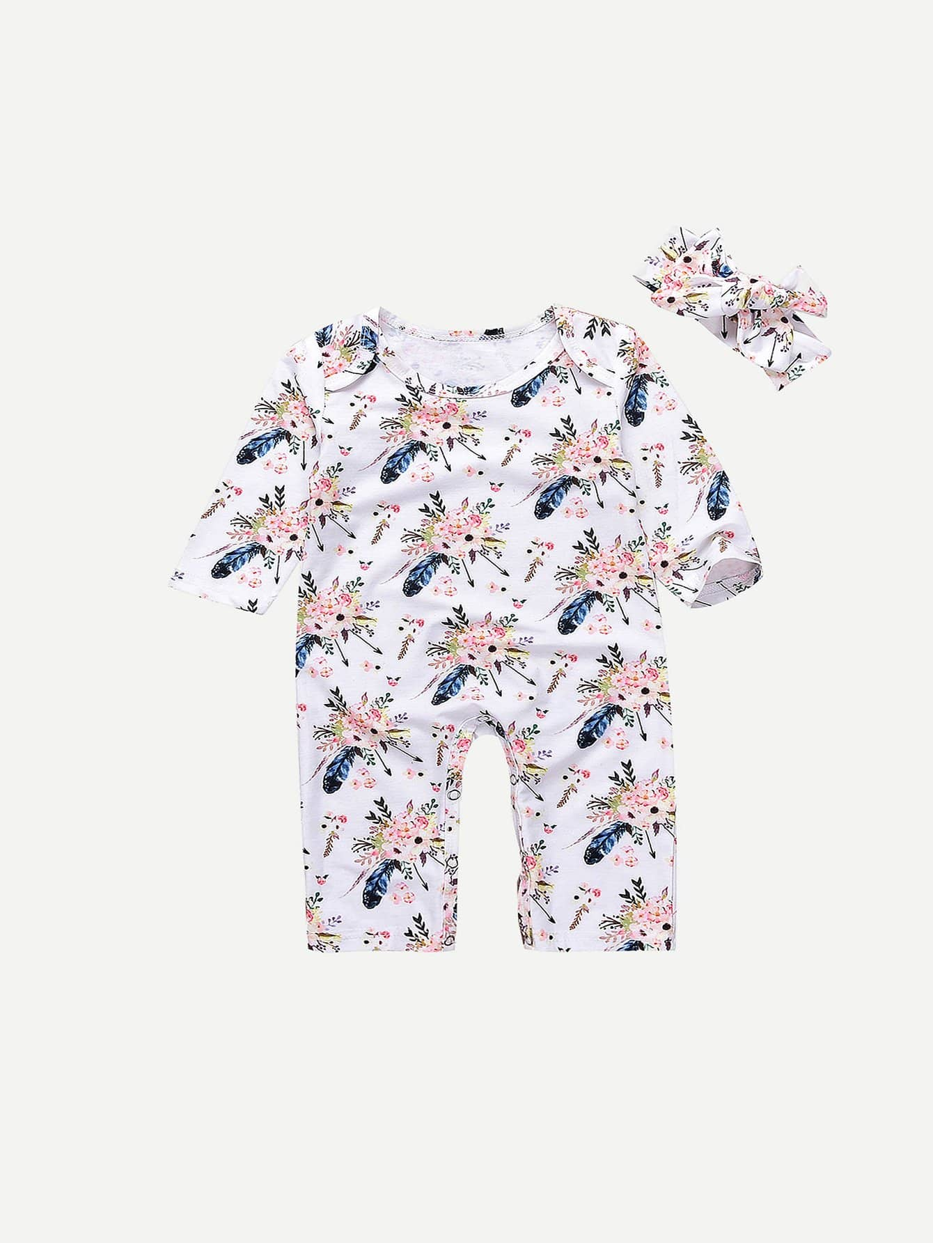 Girls Floral Print Jumpsuit With Headband russian winter baby white duck down rompers with hood outdoor skit snowsuit girls clothes infant boy jumpsuit