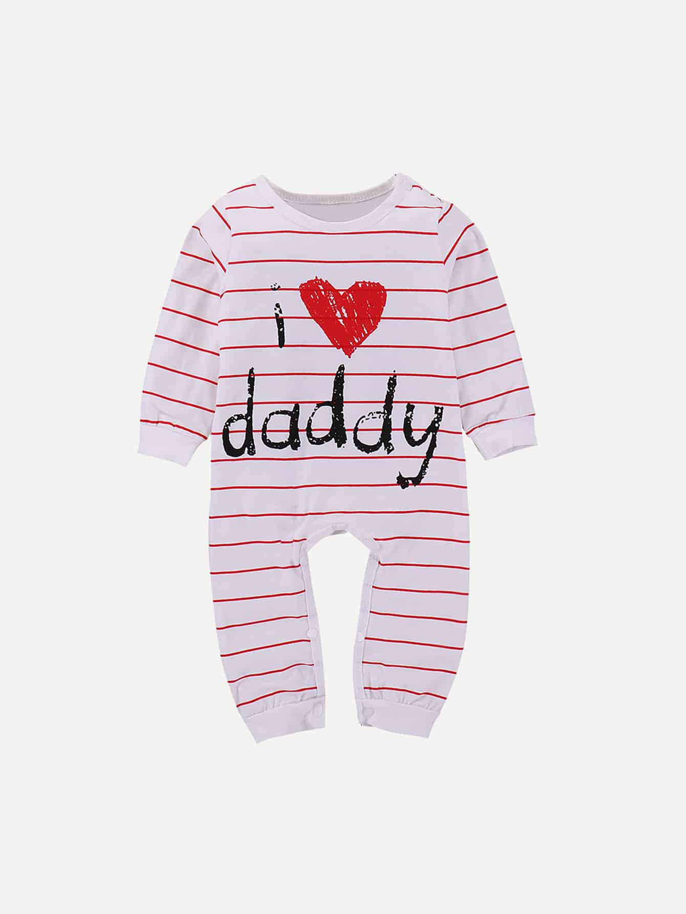 Girls Letter Print Striped Jumpsuit letter print jumpsuit
