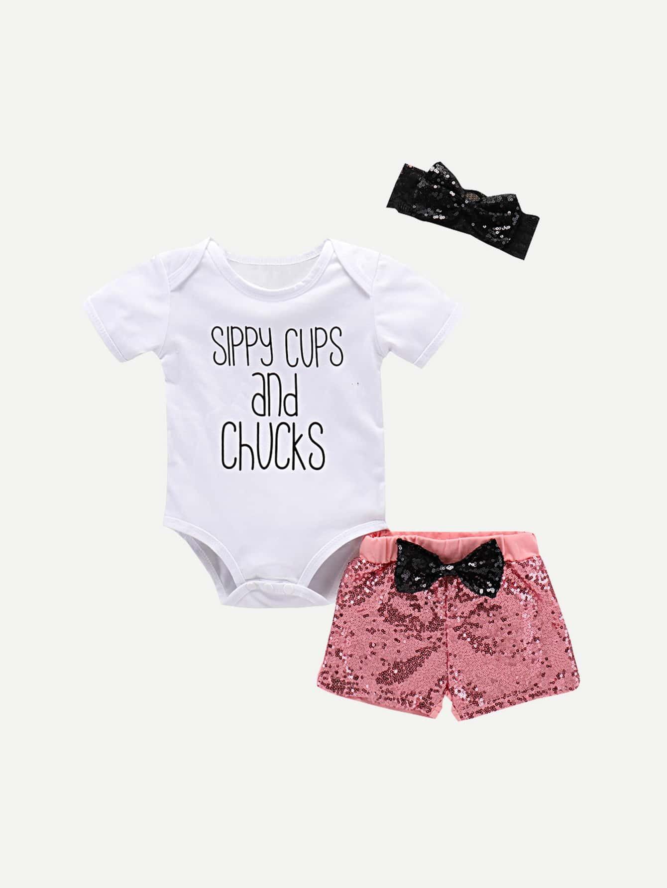 Купить Девочки Письмо Печать Ползунки & Лук Подробнее Секвенсивные шорты и повязка, null, SheIn