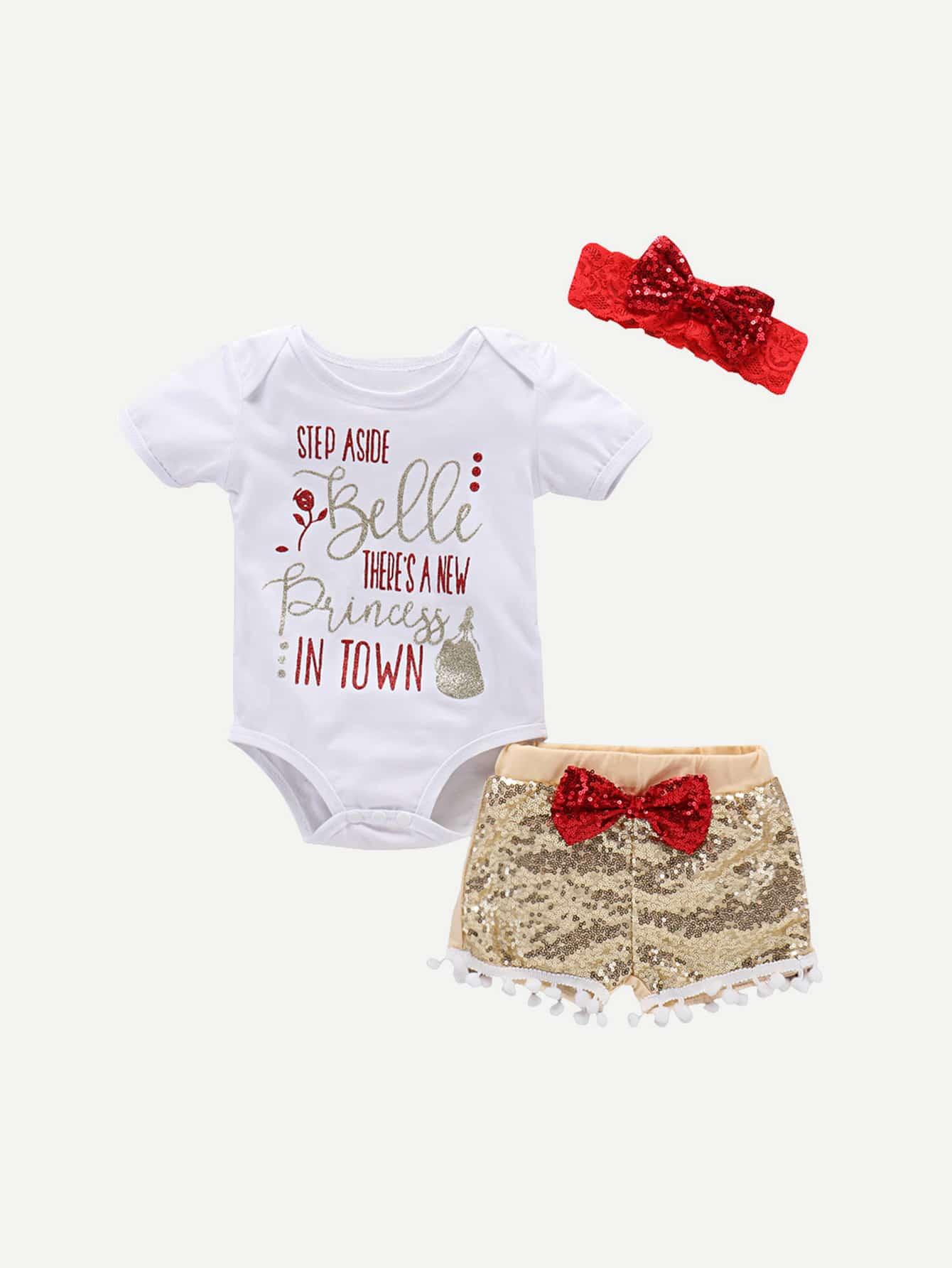 Girls Letter Print Romper & Bow Detail Pom Pom Hem Sequin Shorts & Headband pom pom detail cami and shorts set