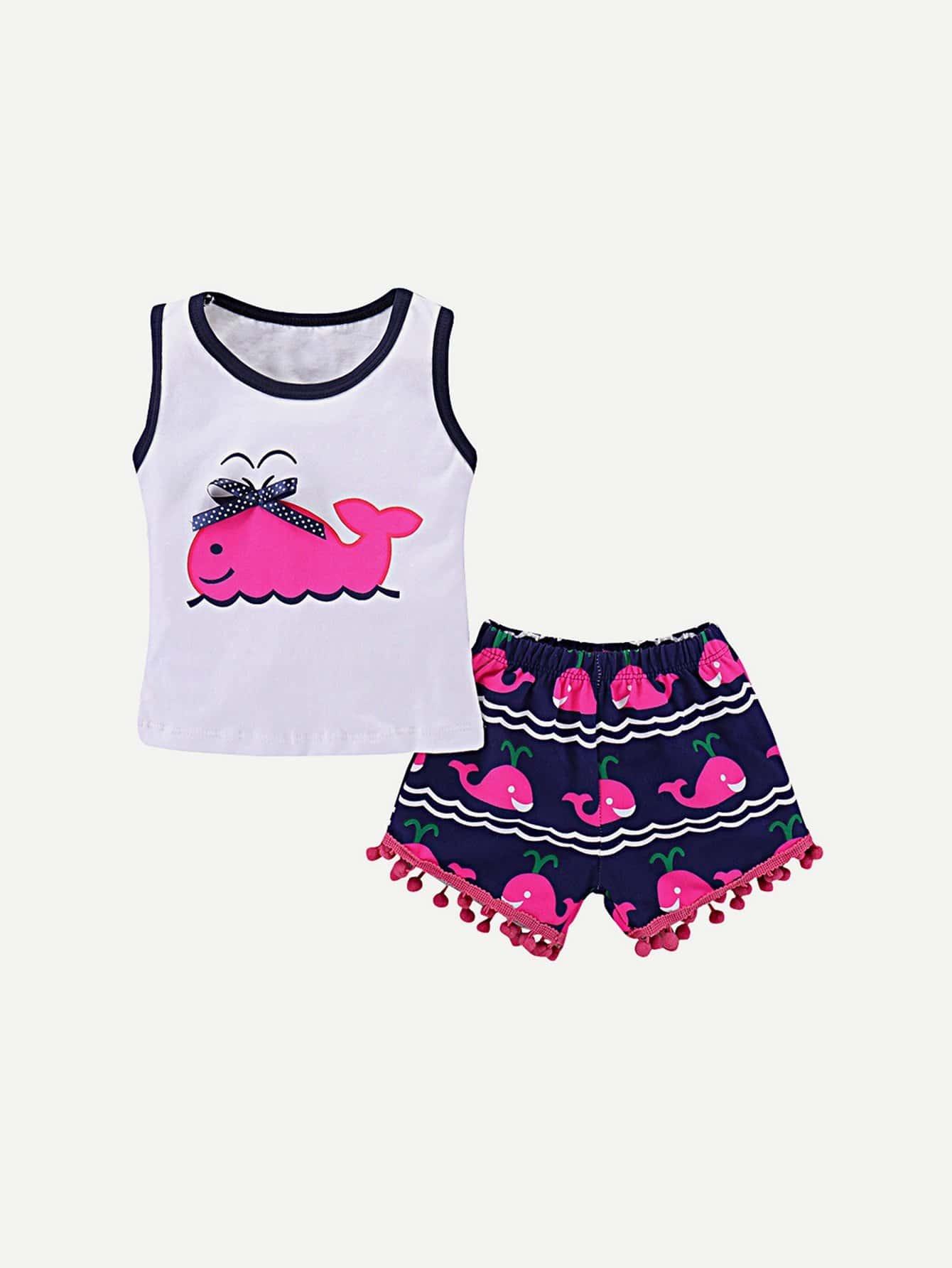 Girls Bow Detail Dolphin Print Vest With Pom Pom Hem Shorts pom pom detail cami and shorts set