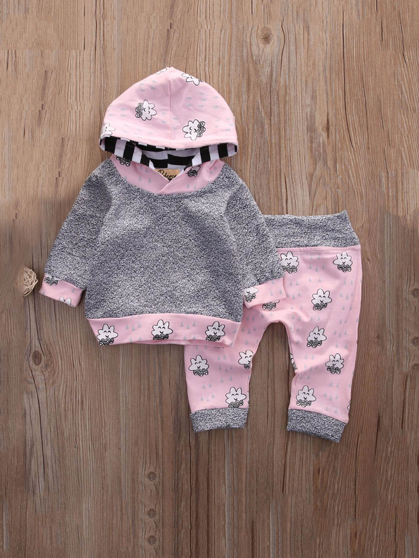 Girls Cartoon Print Hooded Sweatshirt With Pants