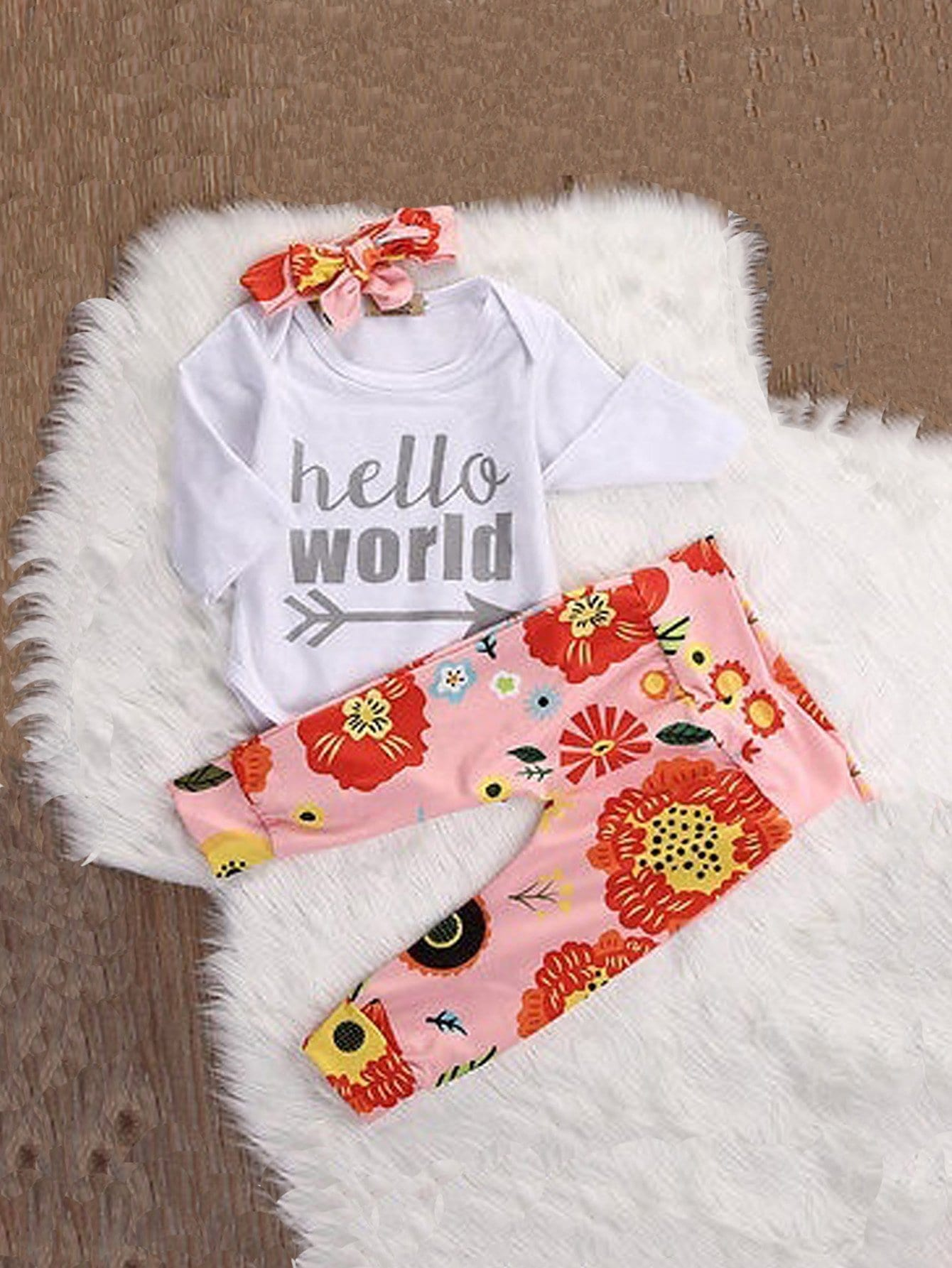 Girls Letter Print Top & Pants & Headband letter print galaxy top