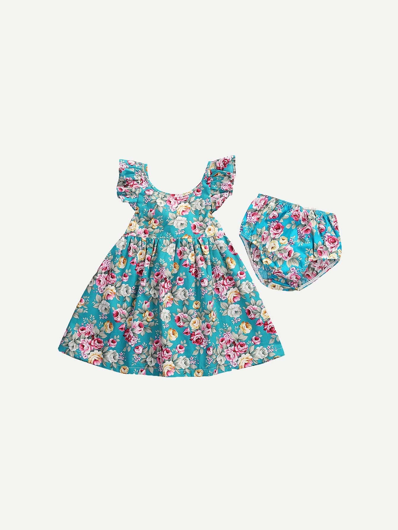 Girls Floral Print Top With Shorts floral applique bowknot top with shorts