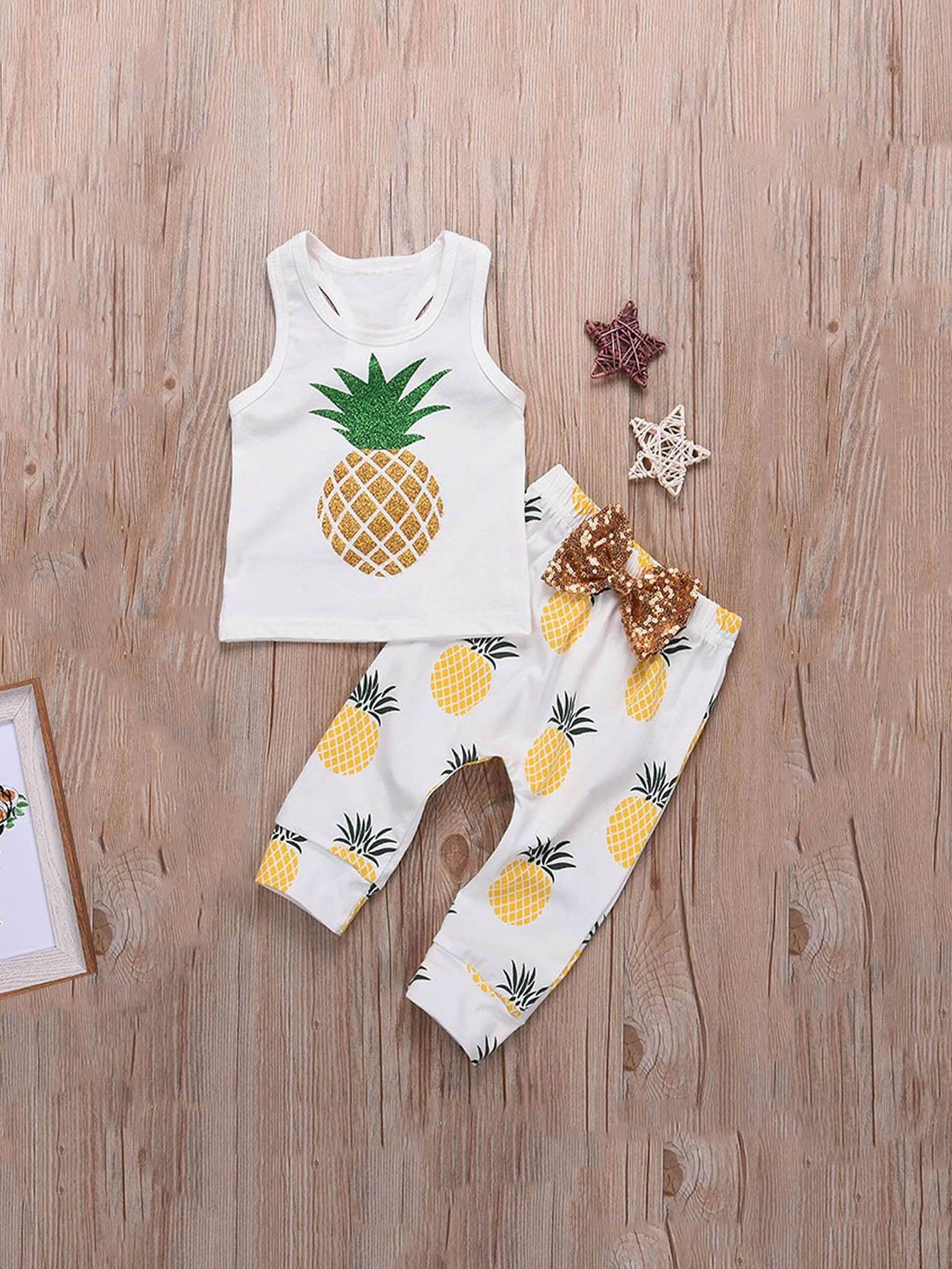 Girls Pineapple Print Vest With Pants