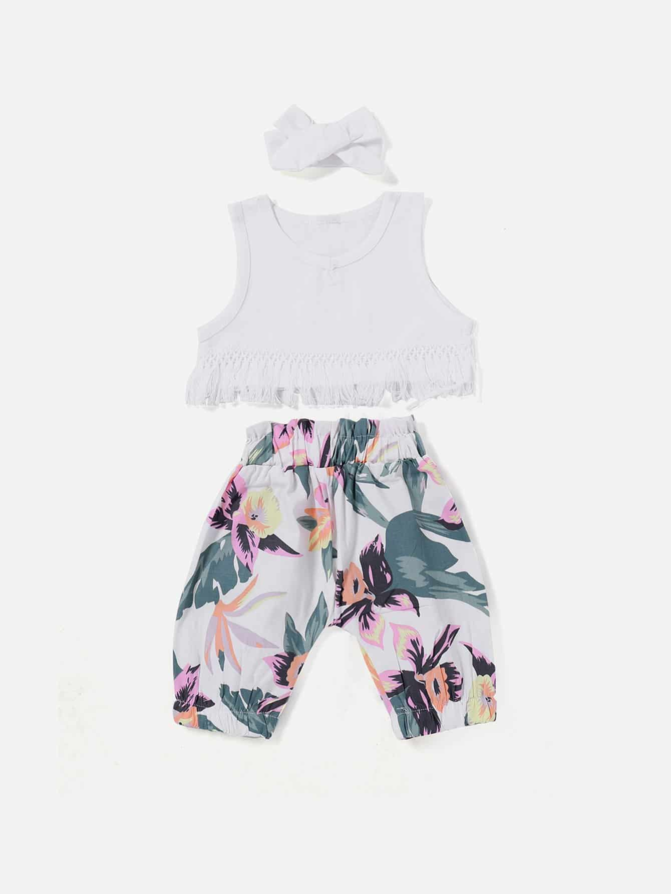 все цены на Girls Fringe Hem Vest & Floral Print Pants & Headband