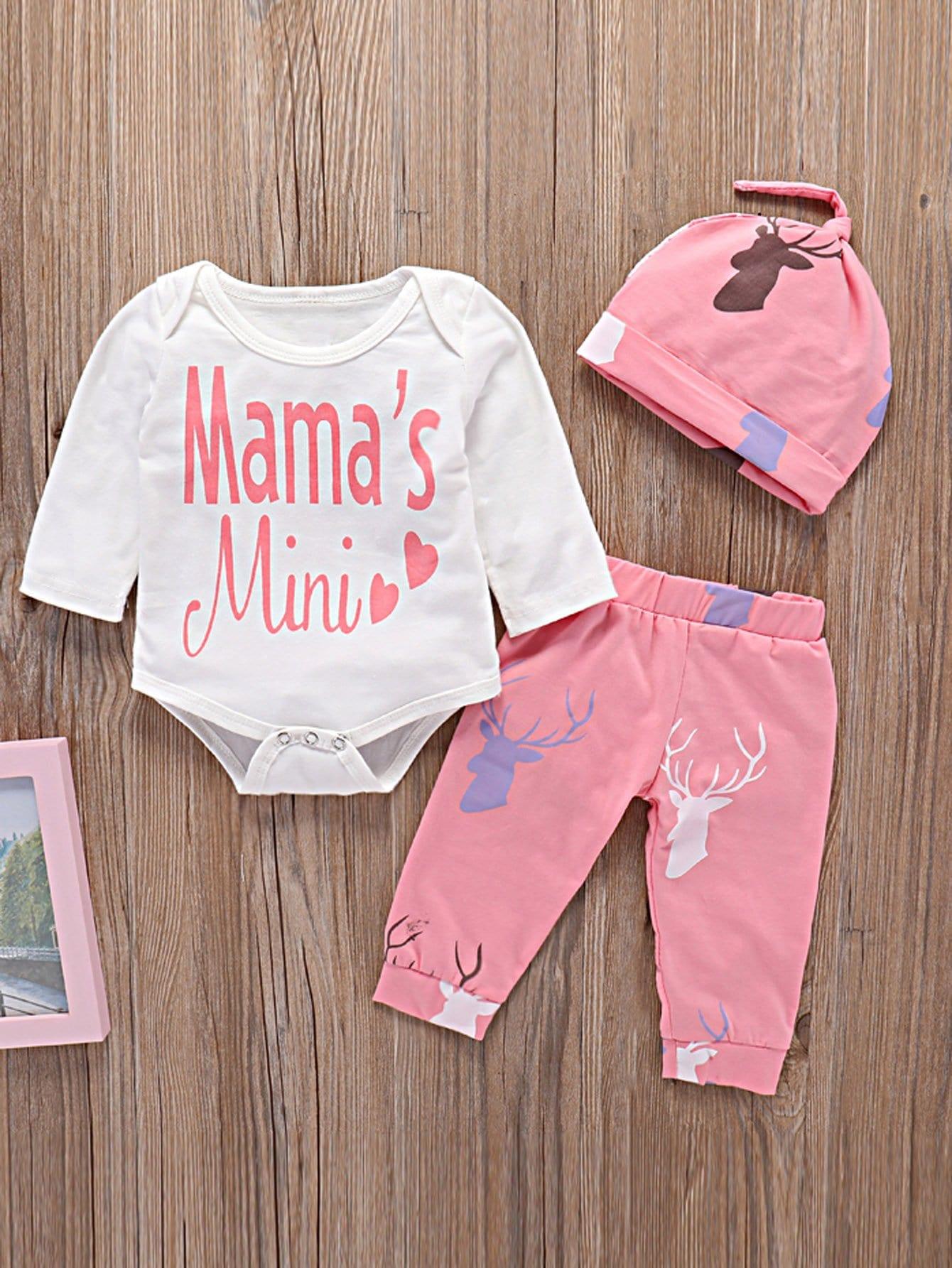 Toddler Girls Letter Print Romper & Elk Print Pants & Hat null
