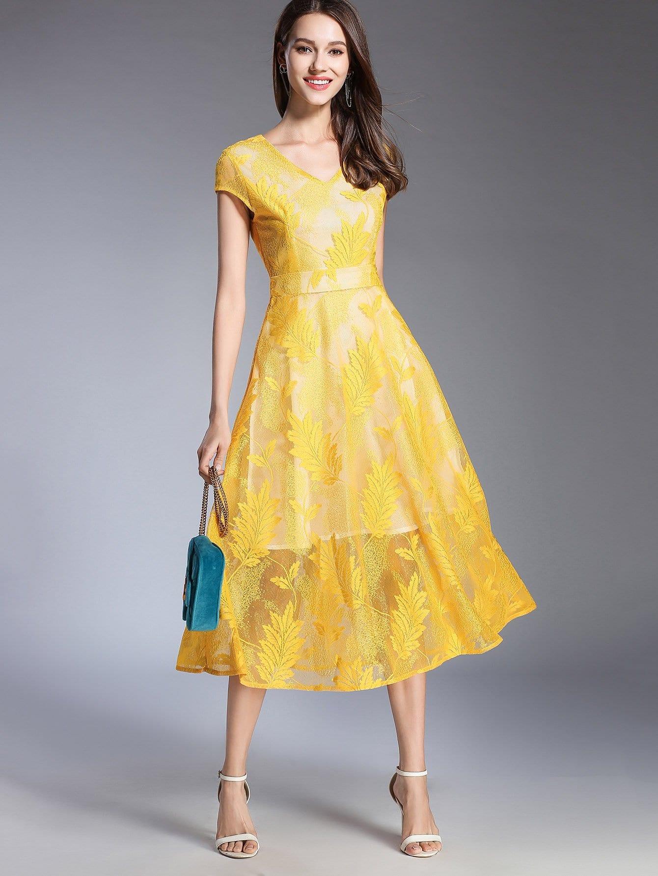 Купить Платье с рисунками сетчатых листьев, null, SheIn