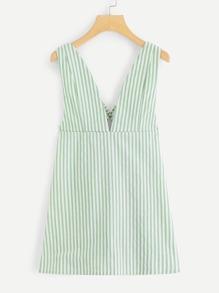 Cross Back Open Back Striped Dress
