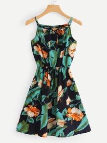 Floral Print Tie Neck Cami Dress