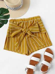 Tie Front Striped Shorts