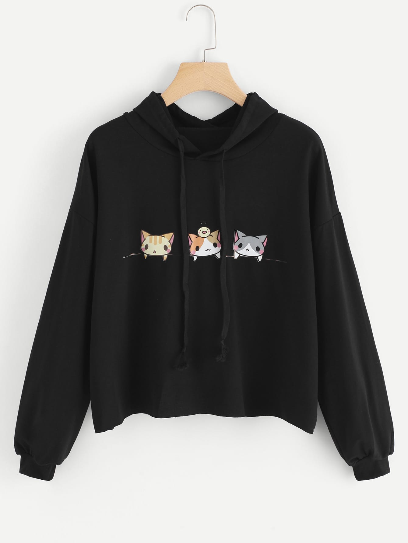 Cats Graphic Drawstring Hoodie null