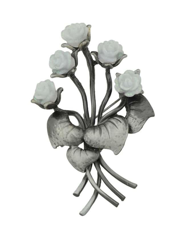 Weiß Antik Gold Harz Blume Broschen Pin