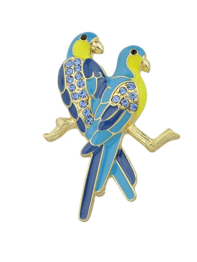 Lovely Blue Rhinestone Two Couple Birds Shape Brooch Pin