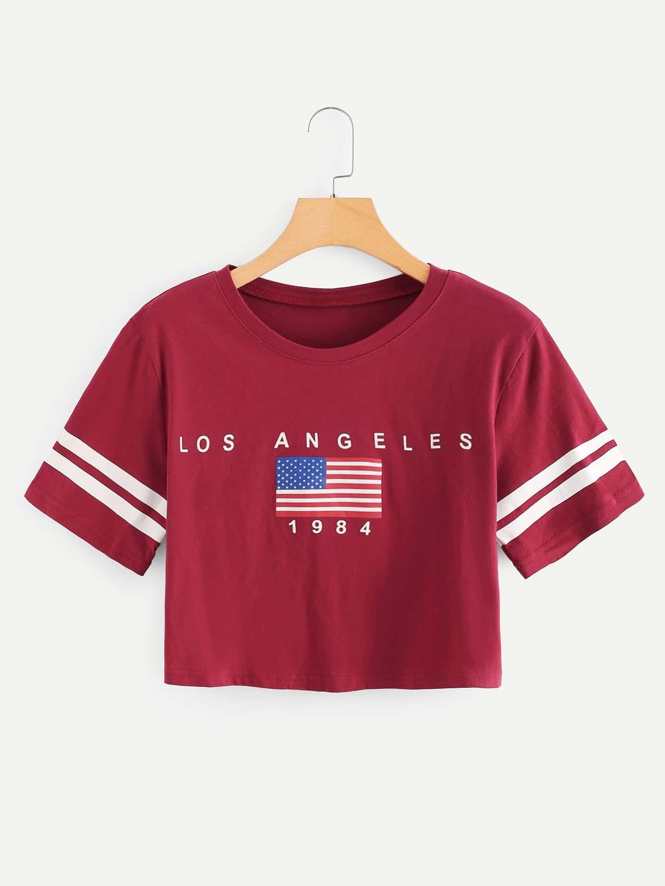 T-Shirt mit Streifen und amerikanischem Flaggemuster