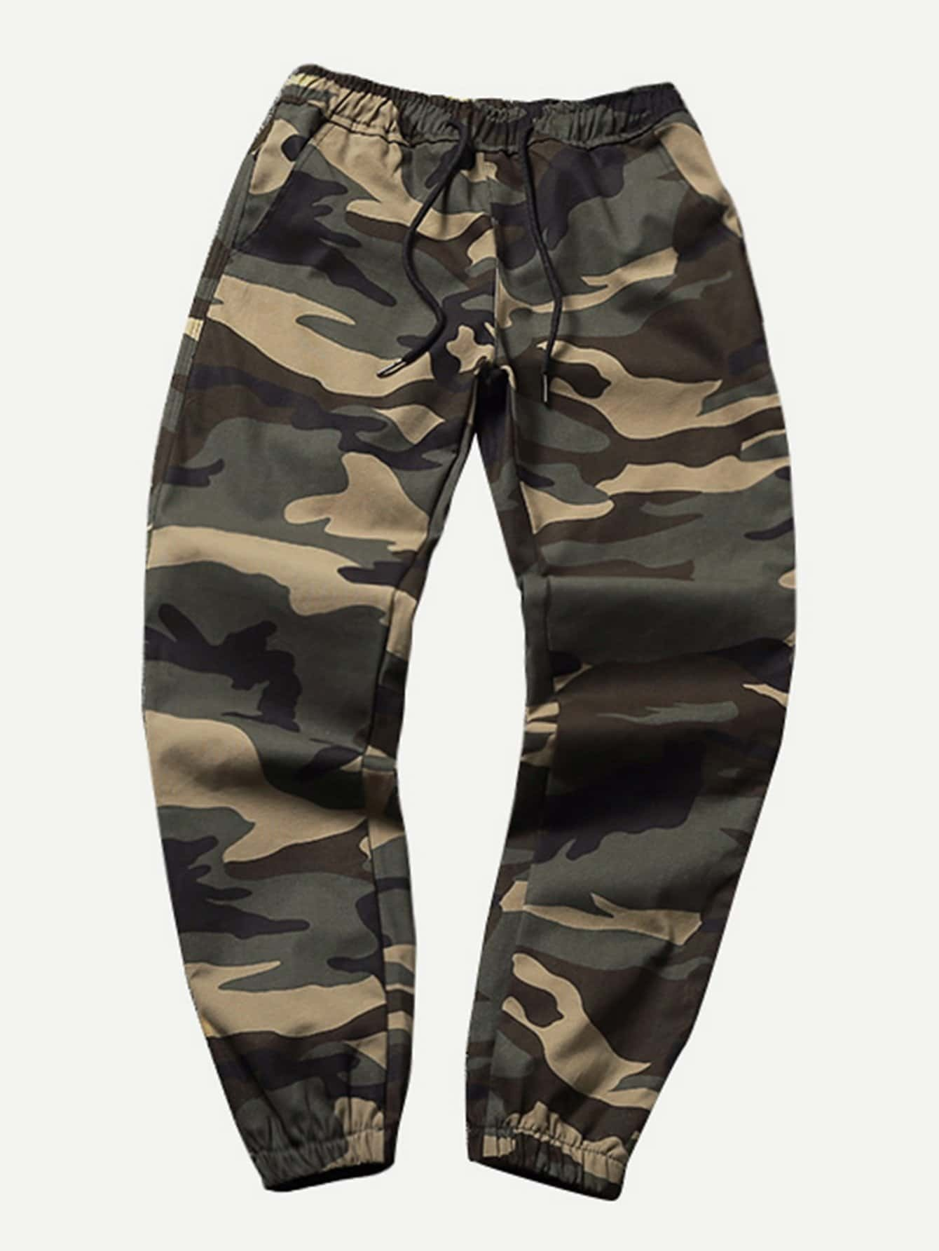 Men Drawstring Camo Pants idopy men s street style denim pants camouflage camo joggers stretchy drawstring biker cargo pants for hipster